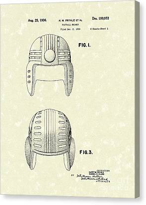 Football Helmet 1936 Patent Art Canvas Print