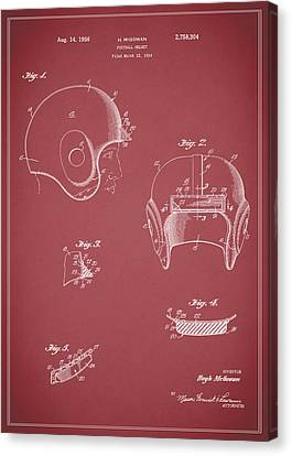 Football Helmet 1954 - Red Canvas Print by Mark Rogan