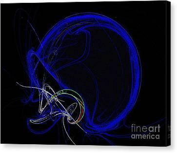 Football Helmet Blue Fractal Art Canvas Print by Andee Design