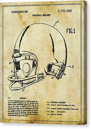 Technical Canvas Print - Football Helmet Patent Blueprint Drawing Tan by Tony Rubino