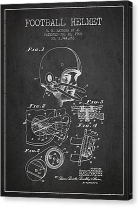 Football Helmet Patent From 1960 - Charcoal Canvas Print
