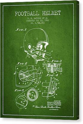 Football Helmet Patent From 1960 - Green Canvas Print