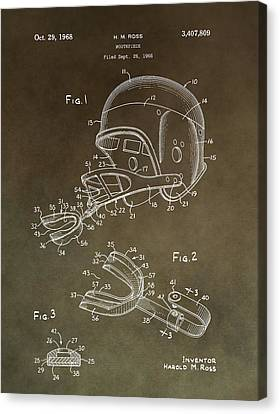 Football Mouthguard Patent Canvas Print by Dan Sproul