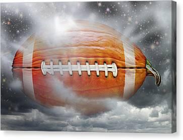 Football Pumpkin Canvas Print by James Larkin