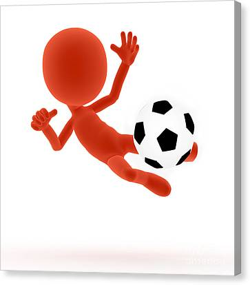 Football Soccer Shooting Jumping Pose Canvas Print by Michal Bednarek