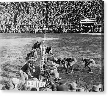 Football Teams Lined Up Canvas Print by Underwood Archives