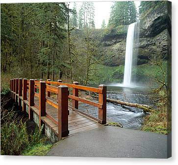 Footbridge Across A River Canvas Print by Panoramic Images