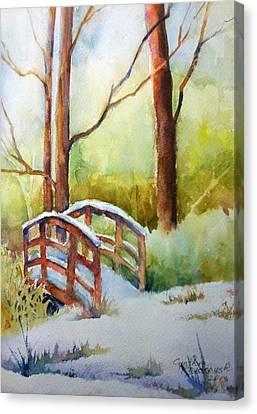 Footbridge At Goosehaven In Lafayette Colorado Canvas Print by Cynthia Roudebush