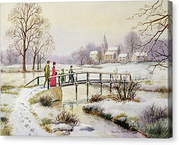 Footbridge In Winter Canvas Print by Stanley Cooke