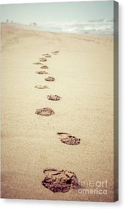 Footprints In Sand Retro Picture Canvas Print by Paul Velgos