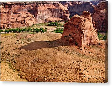 Footprints In The Sand  Canyon Dechelly Canvas Print by Bob and Nadine Johnston