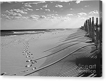 Canvas Print featuring the photograph Footprints In The Sand by Debra Fedchin