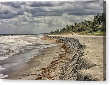 Footprints In The Sand Canvas Print by Dennis Baswell