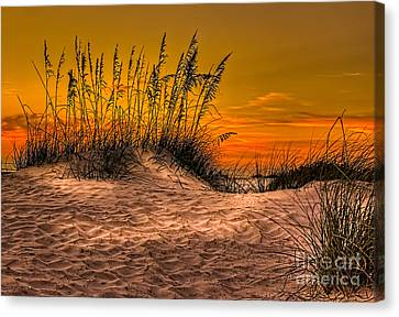 Sand Dunes Canvas Print - Footprints In The Sand by Marvin Spates