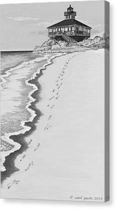 Canvas Print featuring the digital art Footprints On Boca Beach by Carol Jacobs