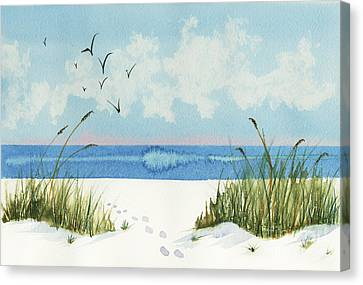 Canvas Print featuring the painting Footprints On The Beach by Nan Wright