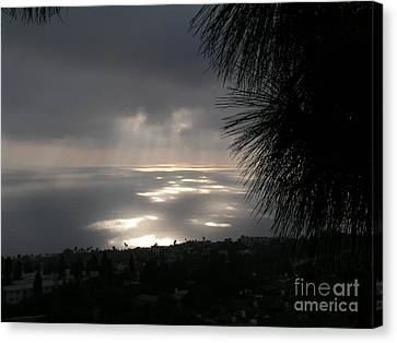 Canvas Print featuring the photograph Footprints On The Ocean by Bev Conover