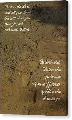 Canvas Print featuring the photograph Footprints Proverbs by Robyn Stacey