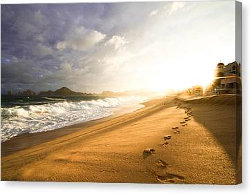 Canvas Print featuring the photograph Footsteps In The Sand by Eti Reid