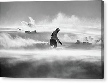 Snowboarding Canvas Print - For Strong Only... by Peter Svoboda