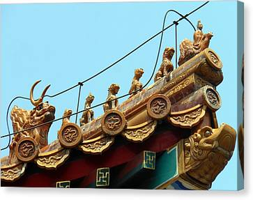 Canvas Print featuring the photograph Forbidden City Roof Adornment by Kay Gilley
