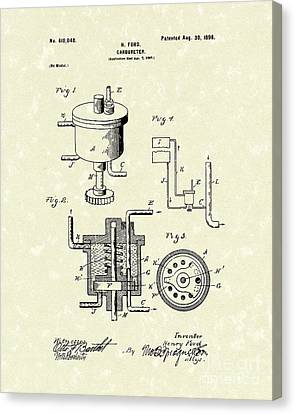 Automobile Canvas Print - Ford Carburetor 1898 Patent Art by Prior Art Design