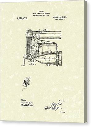 Ford Engine Assembly 1919 Patent Art Canvas Print