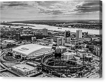 Ford Field And Comerica Park Canvas Print by Cindy Lindow