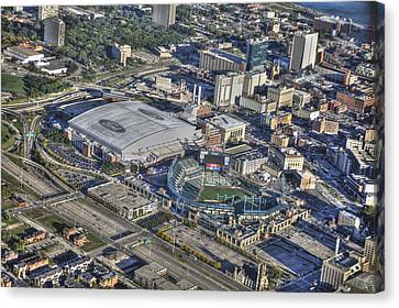 Ford Field Comerica Park From Twenty Five Hundred Feet Canvas Print by A And N Art