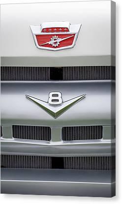 Ford Grille V8 Custom Cab Emblem  Canvas Print by Jill Reger