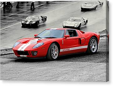 Ford Gt And Gt40 1966 Le Mans Win Canvas Print by Christopher McKenzie
