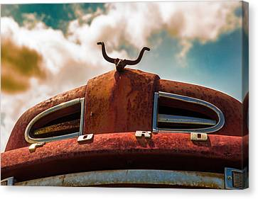 Canvas Print featuring the photograph Ford Hood Ornament by Bartz Johnson
