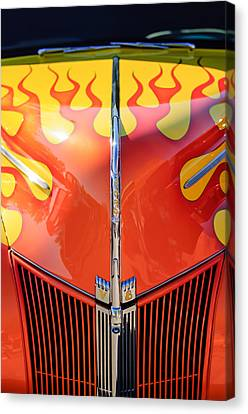 Ford Hot Rod Flamed Hood -264c Canvas Print by Jill Reger
