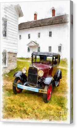 Ford Model A Watercolor Canvas Print by Edward Fielding
