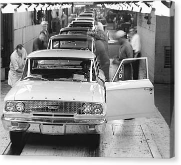 Ford Motor Assembly Plant Canvas Print by Underwood Archives