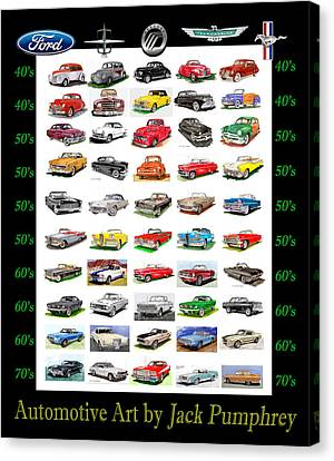 Four Decades Of Fords Poster Canvas Print