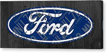 Ford Motor Company Retro Logo License Plate Art Canvas Print
