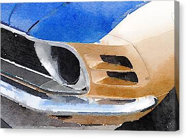 Ford Mustang Front Detail Watercolor Canvas Print by Naxart Studio