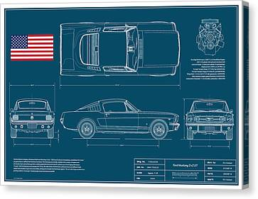 Pony Canvas Print - Ford Mustang Gt Fastback Blueplanprint by Douglas Switzer