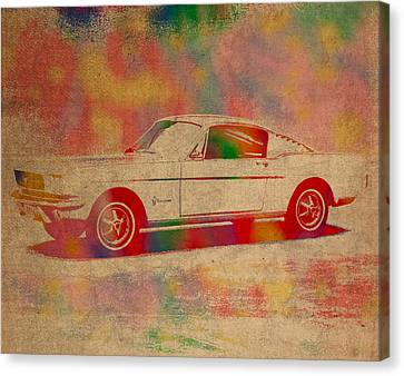 Ford Mustang Watercolor Portrait On Worn Distressed Canvas Canvas Print