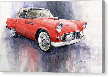 Car Canvas Print - Ford Thunderbird 1955 Red by Yuriy  Shevchuk