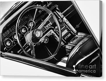 Speedometer Canvas Print - Ford Thunderbird Interior Monochrome by Tim Gainey