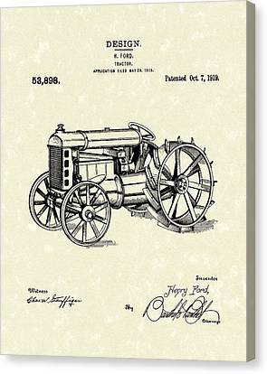 Ford Tractor 1919 Patent Art Canvas Print by Prior Art Design