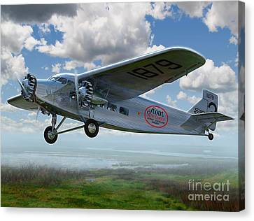 Geese Canvas Print - Ford Trimotor by Stu Shepherd