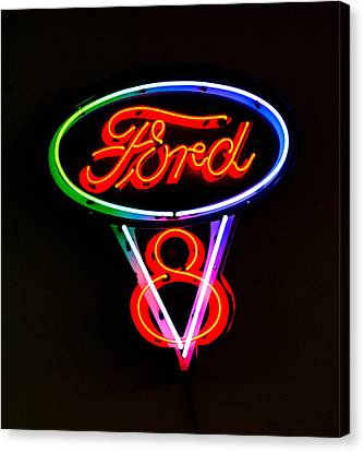 Ford V8 Canvas Print - Ford V8 Neon Sign by Jill Reger