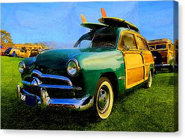 Ford Woodie With Longboards Canvas Print