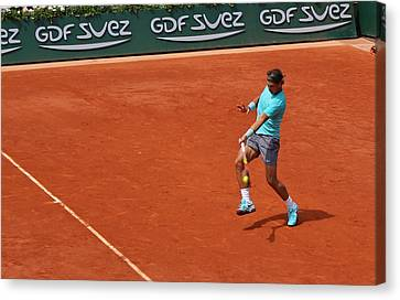 Rafael Nadal's Forehand Impact Canvas Print by Alexi Hoeft