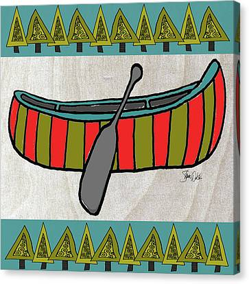 Forest-canoe Canvas Print by Shanni Welsh