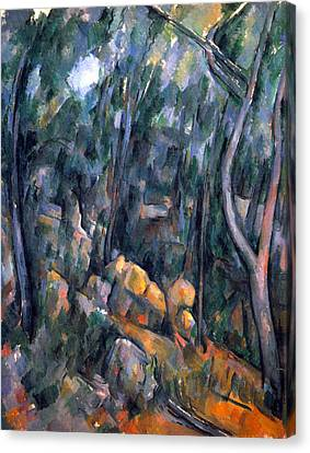 Forest Caves In The Cliffs Above The Cheteau Noir By Cezanne Canvas Print by John Peter