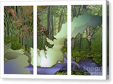 Canvas Print featuring the digital art Forest Fog by Ursula Freer